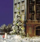 5409 Busch: Frosted Christmas Tree W/7 Yellow LED lights + Snowman Figure